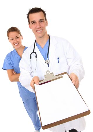 A handsome man doctor and pretty woman nurse isolated photo