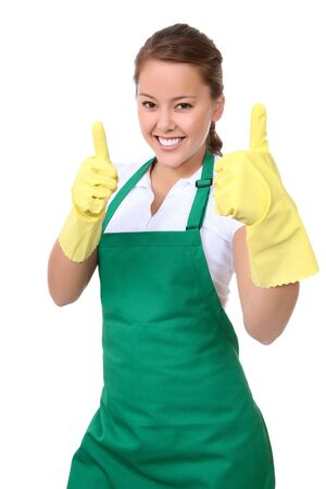 sirvienta: Una hermosa mujer joven asi�tico de limpieza celebrando un �xito