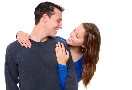 A young happy man and woman couple in love isolated  photo