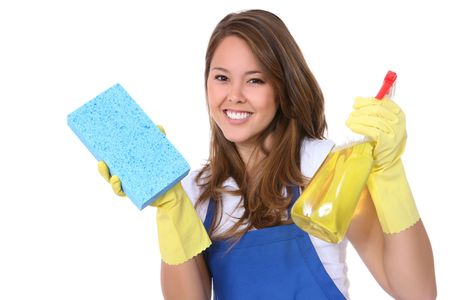 A cute woman maid cleaner with sponge and spray photo