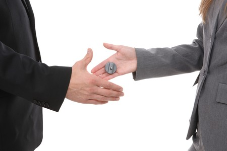 Business team shaking hands with a buzzer shock surprise photo