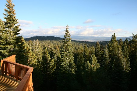 A wooden railing of a cabin looking out on natures forest Stock Photo - 4301448