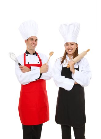 A man and woman chef team isolated over white photo