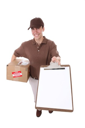 A handsome young delivery man delivering a package photo