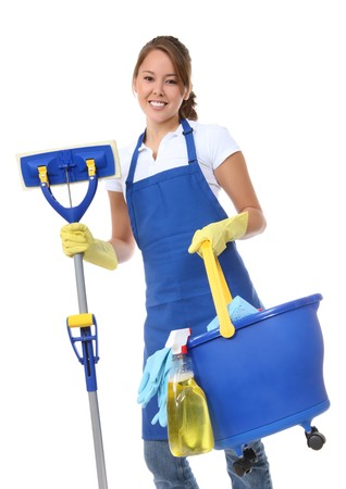 A cute maid cleaner woman with mop and bucket Stock Photo