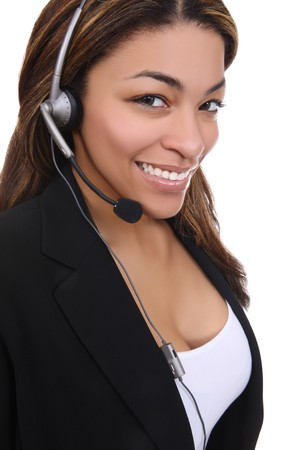 black secretary: An african american business woman on the phone Stock Photo