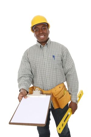 workman: A handsome construction man holding a clipboard