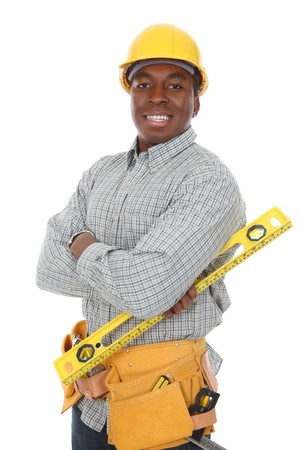 architect tools: A handsome african american construction man isolated over white