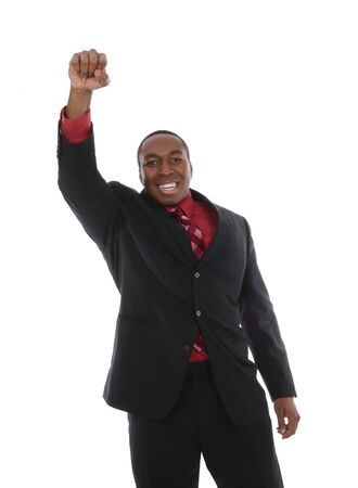 A young african business man celebrating a success isolated  Stock Photo - 4486925