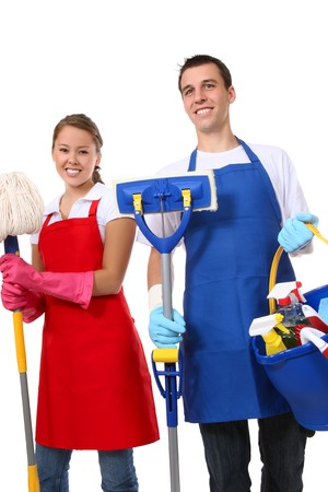 domestic chore: An attractive man and woman holding cleaning supplies