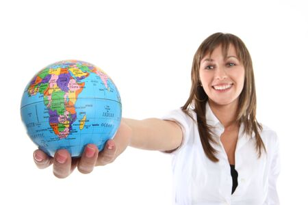 A pretty young business woman holding a globe Stock Photo - 4697451
