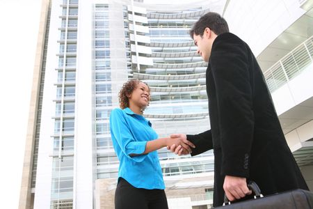 Two business professionals, man and woman, shaking hands photo