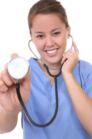 stethoscope: A pretty asian woman nurse isolated over white with stethoscope Stock Photo