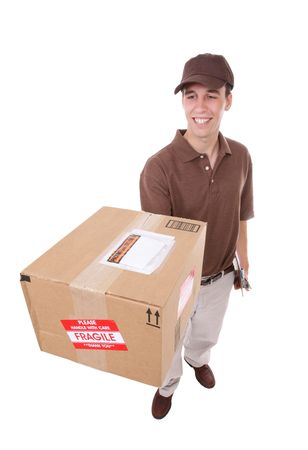 A handsome young delivery man delivering a package Stock Photo - 4927590
