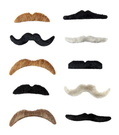 mutton chops: 10 colored moustaches isolated over white background Stock Photo