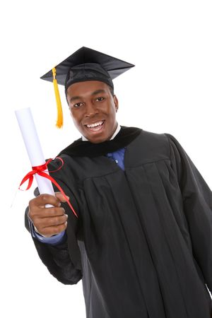 Handsome young  african american man holding graduation diploma