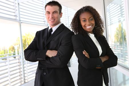 professionals: A diverse african and caucasian man and woman business team