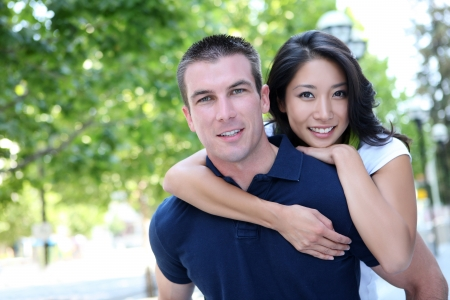 An Attractive man and woman Interracial couple in love  Stok Fotoğraf