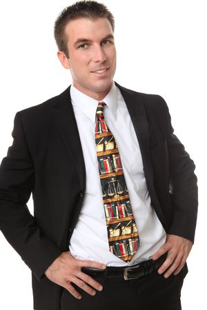 A handsome business man lawyer with a legal themed tie Stock Photo - 5567572