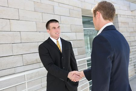 A business man and woman team at office shaking hands Stock Photo - 5583892