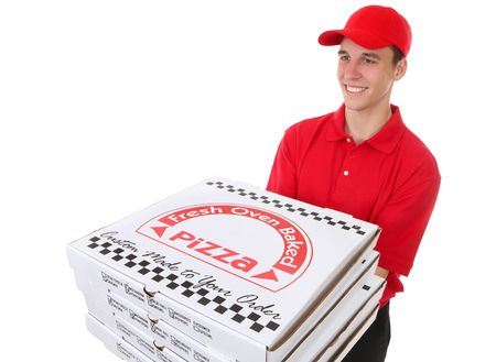 deliver: A handsome young man delivering pizzas isolated over white Stock Photo