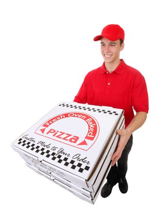 delivery service: A handsome young man delivering pizzas isolated over white Stock Photo