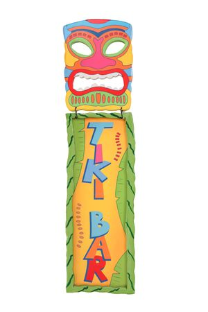 A colorful tiki bar mask and sign isolated over white photo