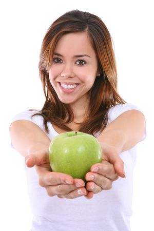 A beautiful young woman handing an apple Stock Photo - 5844802