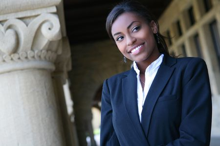 A young and pretty african american woman at college Stock Photo - 5897854