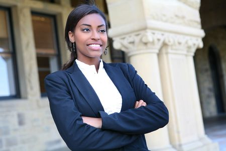 A pretty african american woman at college photo