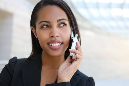 A pretty african american business woman at her office building photo