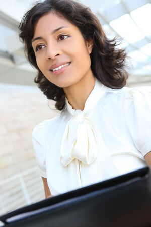 A pretty african american business woman at her office building Stock Photo - 6337439