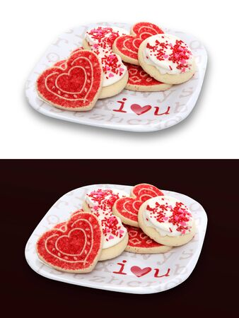 heart shaped: Valentines Day holiday cookies on a plate expressing love