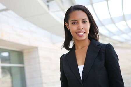 african business: A pretty african american business woman at her office building Stock Photo