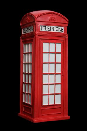 phonebooth: Old British red phone booth isolated on black   Stock Photo