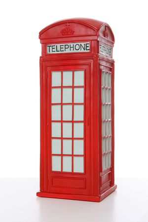 antique booth: Old British red phone booth isolated on white