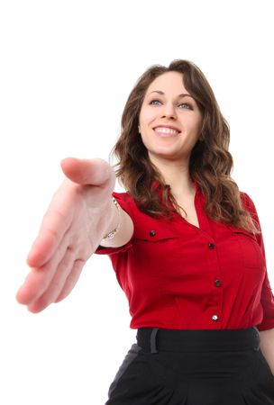 Smiling pretty business woman offering a handshake isolated over white Stock Photo - 6516078