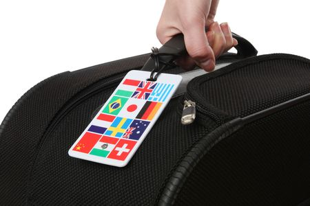 A woman holding a suitcase with global international flags