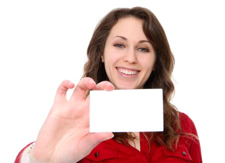 Pretty young business woman holding her card isolated over white Stock Photo - 6540588