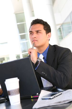 Handsome Latino Business Man at Office Working Stok Fotoğraf
