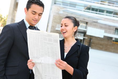 A diverse man and woman business team at their company office building Stock Photo - 6635071