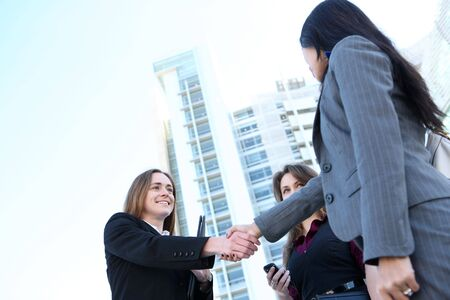 prety: A prety business woman team handshake at office building
