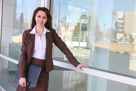 A pretty Russian business woman at office building