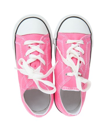 Pink Girls Sneakers (Tennis Shoes) over a white background