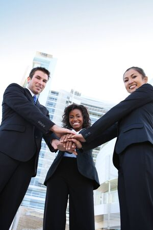 A diverse attractive man and woman business team at office building Stok Fotoğraf