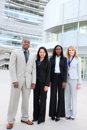 An attractive business man and woman team at office building diversity Stock Photo - 7011048