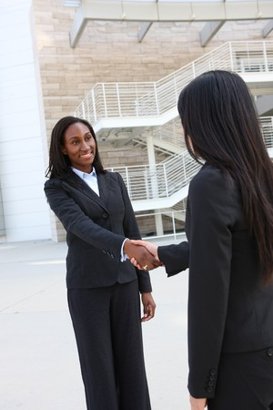 african american woman: A pretty african american business woman shaking hands  Stock Photo