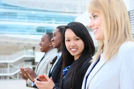 A diverse attractive man and woman business team at office building Stock Photo - 7011066