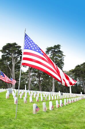 American flags on tombstones in cemetery at memorial day remembrance