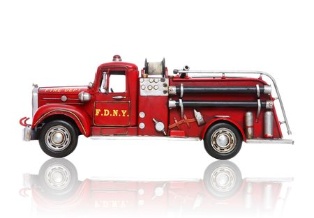 engine fire: An old vintage fire truck isolated over white Stock Photo